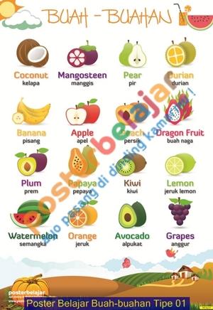 Poster Belajar Buah-buahan Tipe 01