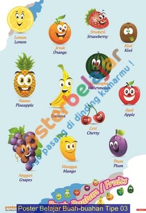 Poster Belajar Buah-buahan Tipe 03